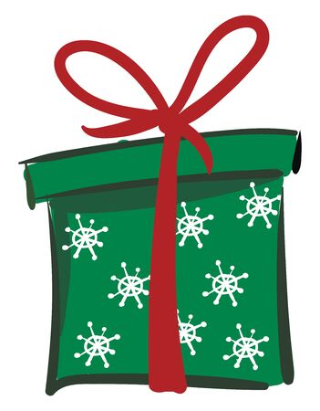 Painting of a Xmas green gift box tied with a brown ribbon and topped with a decorative bow vector color drawing or illustration