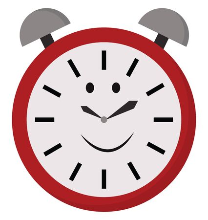A happy twin bell design analog alarm clock with red frame  black-colored minutes  hands and seconds hand  printed against a white dial  vector  color drawing or illustration