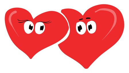 Clipart of two red hearts lying one above the other are in love as their eyes rolled down  vector  color drawing or illustration Illusztráció