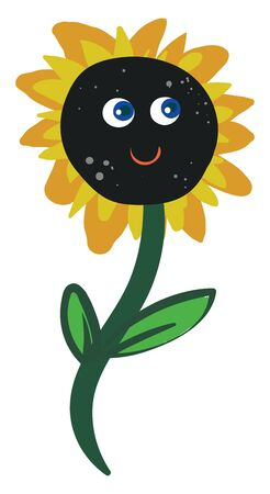Cartoon sunflower with two eyes and smiling lips in the brown floral disc surrounded by yellow and orange florets on a stalk with two leaves is happy  vector  color drawing or illustration