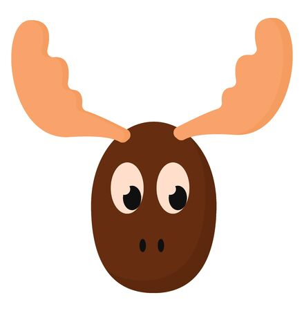Painting of the face of a brown moose has branched orange antlers or horns with eyes rolled down looks unhappy  vector  color drawing or illustration