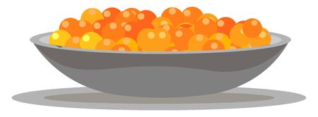 Painting of a giant bowl filled with the tasty caviar  the pickled roe of sturgeon or other large fish  vector  color drawing or illustration Ilustração