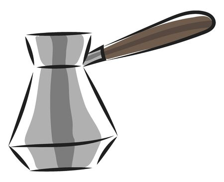 Portrait of a coffee maker suitable for home is with a silver conical container and a brown handle  vector  color drawing or illustration Illustration
