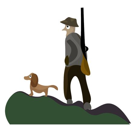 A portrait of a hunter carrying a gun and walking along with his dog on a forest  vector  color drawing or illustration Stock Illustratie