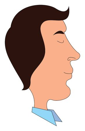 A profile of a young man facing sidewise with a vintage hairstyle wearing blue shirt vector color drawing or illustration