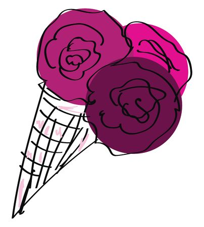A thin crisp edible cone holds the filling and topped with whole red berries is yummy and delicious  vector  color drawing or illustration  イラスト・ベクター素材
