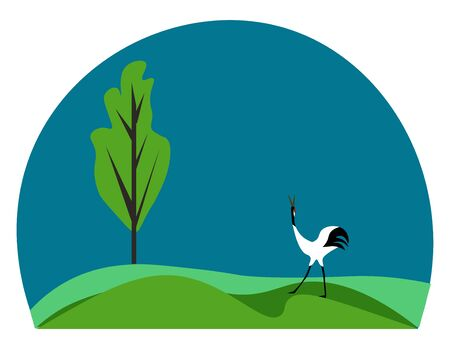 A Japanese crane white bird with a dark bill  black crown and tufted rump feathers toward the end of the body  walks in a green grassland with a tree  vector  color drawing or illustration