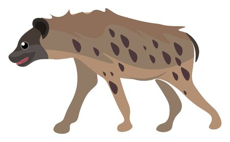 A portrait of a hyena with dark brown patches set on isolated white background viewed from the side  vector  color drawing or illustration Illustration