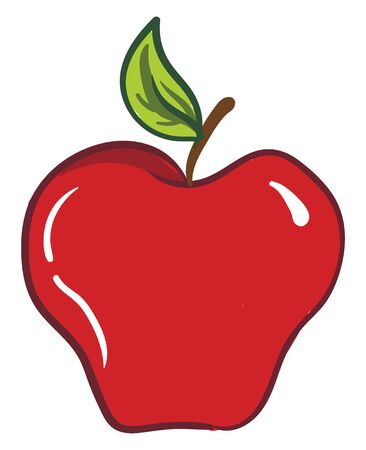 Clipart of a sweet and edible red-colored apple fruit with a small brown stalk  a green-colored leaf  and few white-colored exclamation marks  vector  color drawing or illustration Ilustração