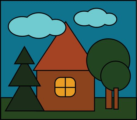 A portrait of a brown horse with a triangular roof  a yellow glass window  few trees to the front of the house over a blue background with few clouds  vector  color drawing or illustration