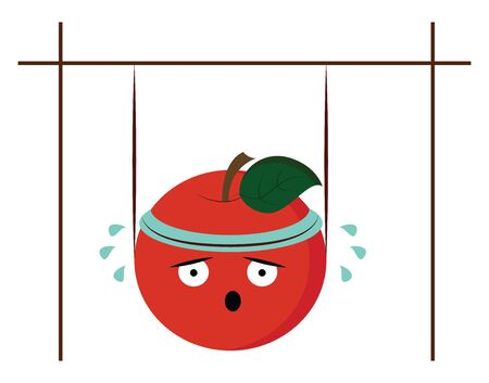 A cute red apple wearing a blue-colored bandana sheds tears while hanging in the bars in the gym  vector  color drawing or illustration Иллюстрация