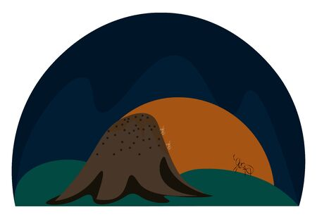 A landscape of a rising sun and an anthill in the form of a mound built by ants  vector  color drawing or illustration