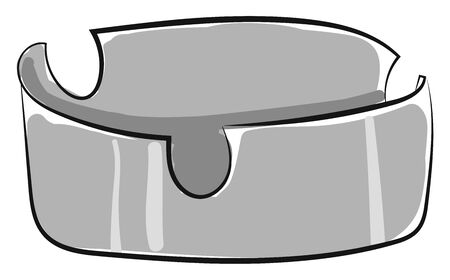 A shiny grey color empty ashtray gigantic in size with U-shaped cuts as design placed on the table  vector  color drawing or illustration
