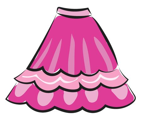 Painting of a showcase pink-colored jupe skirt  a loose-fitting wool jacket or tunic for children or women   vector  color drawing or illustration
