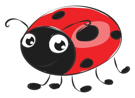 Cartoon cute little dome-shaped ladybird red in color and oval-shaped black patches on their body has two big horns and stands with its thin feet  vector  color drawing or illustration