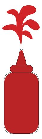 A sweet and tangy red ketchup bottle that splashes red sauce over white background  vector  color drawing or illustration Illustration