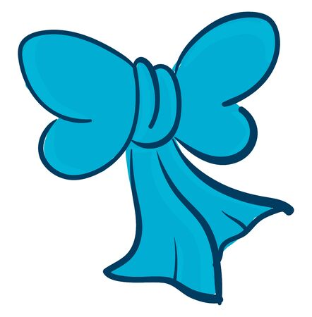 Clipart of a blue bow that has a knot tied with two loops  and two loose ends  used as decorative ribbons for costumes  or hairstyles  vector  color drawing or illustration