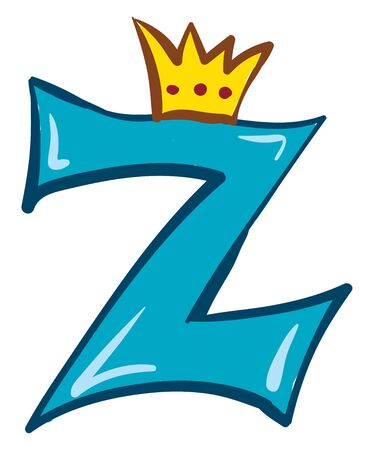 A blue-colored alphabetic figurine with a blue outline and topped with a crown represents the queen alphabet Z  vector  color drawing or illustration  イラスト・ベクター素材