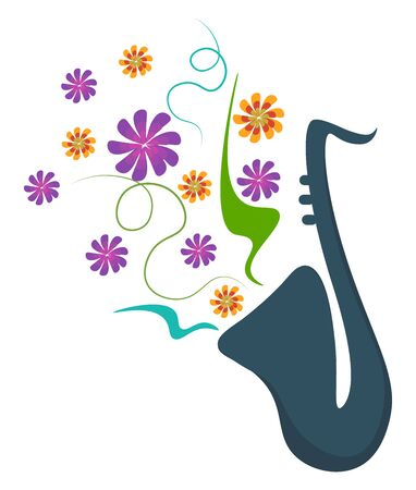 A portrait that depicts the spring season with few colorful  fragrant flowers coming out of the tripped vase and drifting through the air  vector  color drawing or illustration