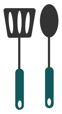 Kitchen utensils black in color and furnished with blue handles stand close to each other  provided with small holes to hang on the wall  vector  color drawing or illustration