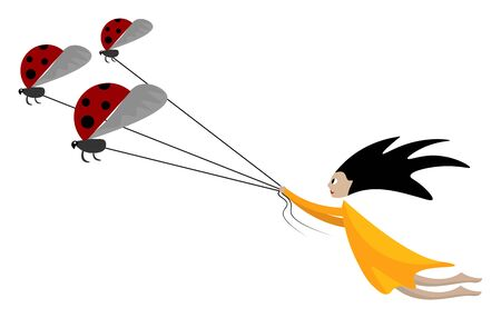 Cartoon funny picture of a girl in a yellow gown pulling the three ladybugs tied to individual strings and her hair floats in the air as she drifts through it  vector  color drawing or illustration Vettoriali