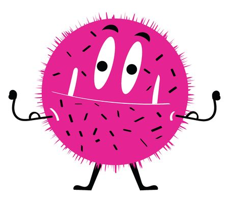 Painting of a pink monster with spike-like hair covering the circular-shaped body  projecting two white teeth  has stretched its black hands while standing  vector  color drawing or illustration Illustration