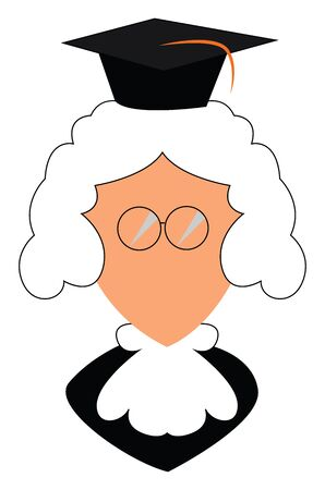 Cartoon judge with a black robe  white tie around his neck  glasses without temple or frame  white wig and a black hood looks funny  vector  color drawing or illustration