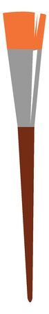 Painting of a brown artistic paint brush with silver rim and orange bristles  vector  color drawing or illustration Ilustracja