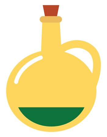 Portrait of butter in a round conical flask furnished with a handle and red cork serves as the lid  vector  color drawing or illustration