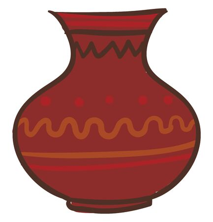 Painting of a large brown earthen jug with designs has a flat body and a narrow-raised opening at the top for pouring the liquid filled in  vector  color drawing or illustration