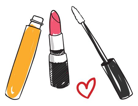 Painting of cosmetics like opened lipstick  mascara  and a heart symbol set on isolated white background  vector  color drawing or illustration Illusztráció