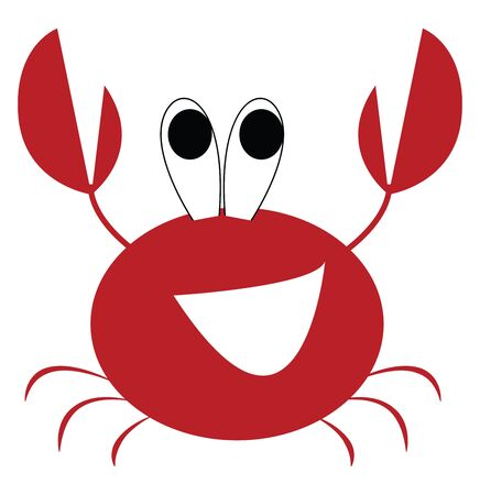 A red colored crayfish with big eyes  two sharp claws  and small tentacles is laughing while its eyes rolled up  vector  color drawing or illustration