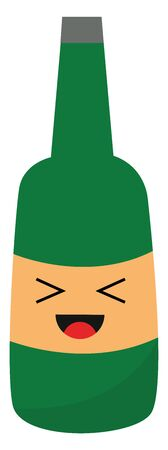 A green bottle with an ash cap has a face and tongue stuck out while laughing vector color drawing or illustration