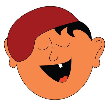 A small boy laughing aloud showing his single small tooth vector color drawing or illustration