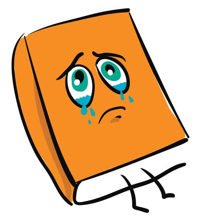 Emoji of an orange book with eyes  legs  and mouth  is shedding tears while lying on the floor  vector  color drawing or illustration