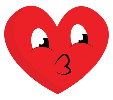Emoji of a red heart with heart-shaped black lips and eyes rolled down looks so cute and lovely  vector  color drawing or illustration