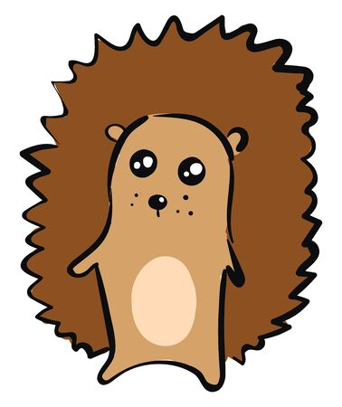 Emoji of a brown hedgehog with dense spines covering its back of the body looks cute while standing  vector  color drawing or illustration