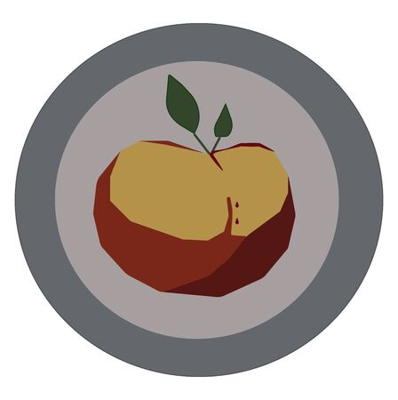 Portrait of a decorative apple on a plate looks beautiful over white background vector color drawing or illustration