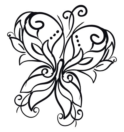 Line art of a décor butterfly with microscopic scales of various patterns covering its wings  vector  color drawing or illustration