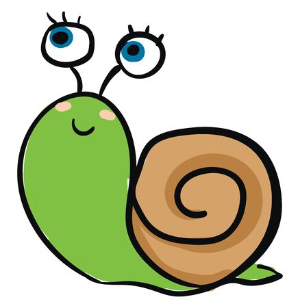 Emoji of a cute green snail with a single hard coiled brown shell has a closed smile turning to the cheek while crawling  vector  color drawing or illustration Illustration