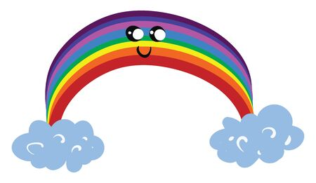 Emoji of a cute rainbow with eyes rolled left-bottom has a closed smile turning up to the cheek  vector  color drawing or illustration