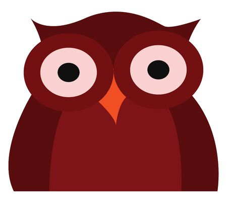 Clipart of a dark red owl with two swollen eyes  short ears  and an orange beak  looks cute and happy   vector  color drawing or illustration