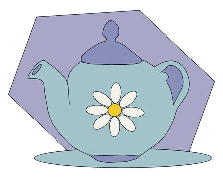 Portrait of a blue teapot decorated with flowers furnished with a handle  lid  and spout looks beautiful  vector  color drawing or illustration