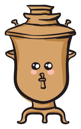 Emoji of a cute brown samovar with two eyes has a closed smile turning to the cheek vector color drawing or illustration