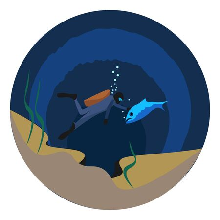 Portrait of a man diving at the bottom of the sea and touching a big blue fish  vector  color drawing or illustration Ilustracja