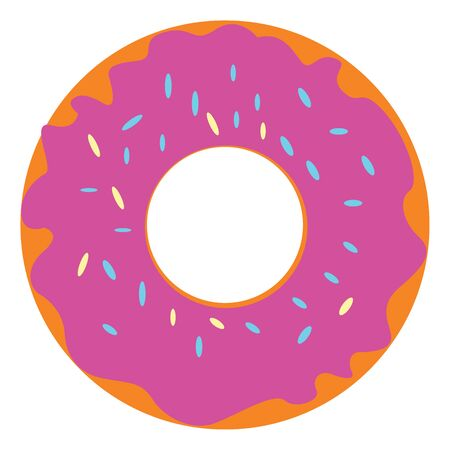 A big brown doughnut with pink frosting and colorful sprinkles on it is yummy  sweet and delicious  vector  color drawing or illustration Ilustração