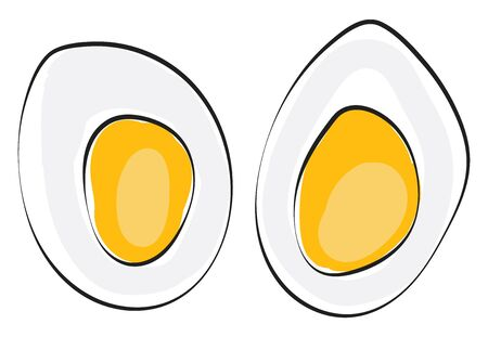 Cut slices of a hard-boiled egg standing upright expose the yellow yolk  vector  color drawing or illustration