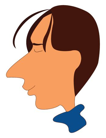 Cartoon man in a blue dress has a long  unpointed nose and few strands of hair floating in front of his forehead with his eyes closed looks happy  vector  color drawing or illustration Ilustração
