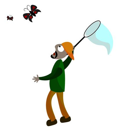 An entomologist in a green shirt brown pant orange cap turned backward is trying to trap colorful butterflies in the blue net vector color drawing or illustration