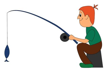 Clipart of a fisherman in a green shirt and a brown pant smiles while a fish trapped in the bait that he holds in his hand vector color drawing or illustration
